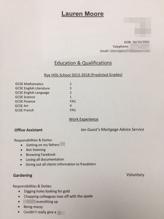 Lauren's dad listed all her bad qualities in the CV (Picture: Lauren_Guest123/Twitter)